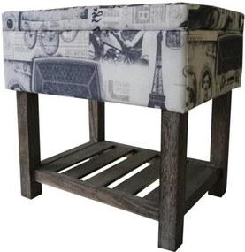 Sconto Úložný taburet PARIS 002 krémová s potlačou/hnedá