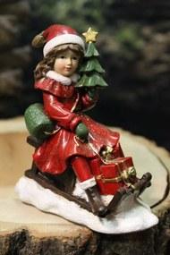 Červená vianočná figúrka dievčatka na sánkach 11cm