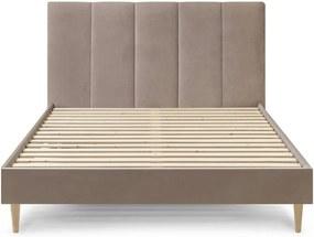 Béžová zamatová dvojlôžková posteľ Bobochic Paris Vivara Light, 160 x 200 cm