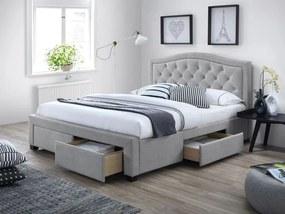 Šedá čalouněná postel ELECTRA 160 x 200 cm Matrac: Matrac COCO MAXI 23 cm