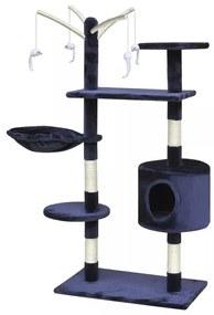 Škrabadlo pre mačky - 120 cm strom s 1 domčekom, tmavo modrý