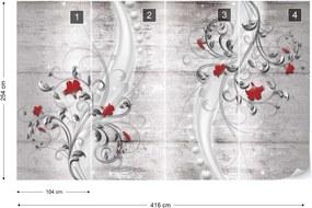 Fototapeta GLIX - šedá s ornamenty a květy + lepidlo ZADARMO Vliesová tapeta  - 416x254 cm