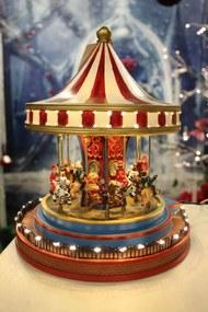 Svietiaci vianočný hrací pohyblivý kolotoč 26cm
