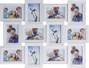 DekorStyle Fotorámeček na stěnu 12 fotografií - 10 x 15 cm bílá