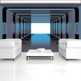 Fototapeta - Modrý 3D tunel (254x184 cm), 10 ďalších rozmerov