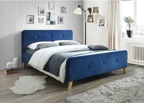 Modrá čalúnená posteľ MALMO VELVET 160 x 200 cm Matrac: Matrac COCO MAXI 23 cm
