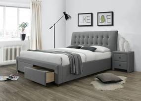 Halmar Čalouněná postel Percy 160x200 dvoulůžko šedá