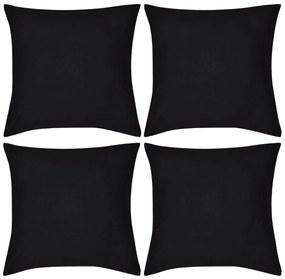 vidaXL Návliečky na vankúše, 4 ks, bavlna, čierne, 40 x 40 cm