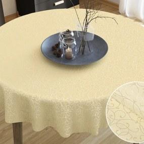 Goldea luxusný dekoračný obrus - vzor vanilková perokresba - guľatý Ø 90 cm