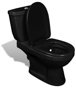 vidaXL Toaleta s nádržkou, čierna