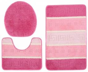 Kúpeľňové predložky Greece ružové 3 ks, Velikosti 50x80cm