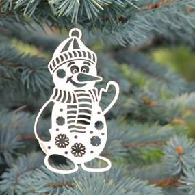 Vianočný snehuliak - Ozdoba na stromček