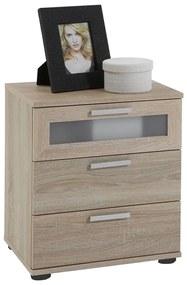 FMD Nočný stolík s 3 zásuvkami farba dubu