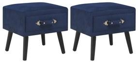 vidaXL Nočné stolíky 2 ks modré 40x35x40 cm zamatové