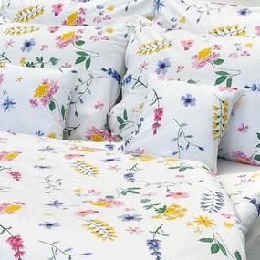 Luxusné krepové obliečky Flóra biela 140x200/70x90 cm