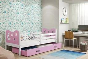 BMS Group Jednolôžková posteľ MIKO - so zásuvkou - BIELA