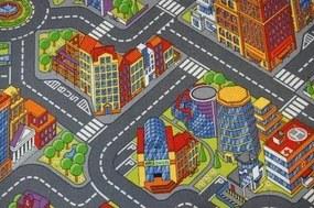 MAXMAX Detský koberec ULIČKA BIG CITY šedý