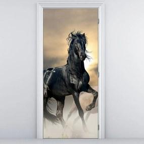 Fototapeta na dvere - Čierny kôň (95x205cm)