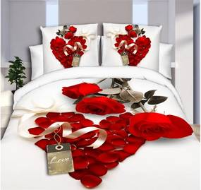 6-dílné povlečení růže 3 D červená 200x220