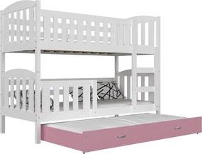 GL Poschodová posteľ pre 3 deti Jakub 3 Color biela 190x80 - viac farieb Farba: Sivá