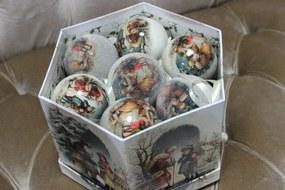 Krémové obrázkové plastové vianočné gule 7cm 14ks
