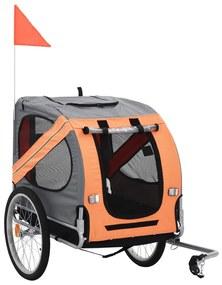 vidaXL Vozík za bicykel pre psa, oranžová a hnedá