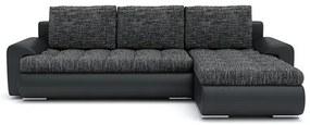 Rozkladacia rohová sedacia súprava TOKIO VI Tmavo šedá/čierna eko-koža Pravá
