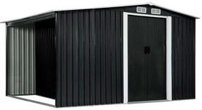 vidaXL Záhradná kôlňa s posuvnými dverami antracitová 329,5x131x178 cm oceľová