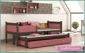 GL Swing P2 grafit Color posteľ s prístelkou 184x80 MDF Farba: Ružová