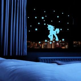 Fanastick Nástenná svietiaca samolepka Jednorožec s hviezdami