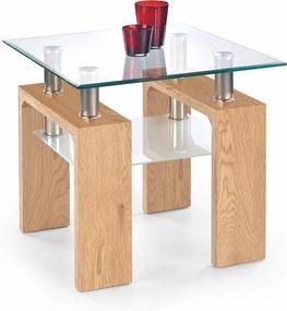 HALMAR Diana H Kwadrat sklenený konferenčný stolík dub zlatý / priehľadná / mliečna