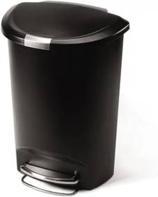 Pologuľatý pedálový kôš 50 l čierny plast