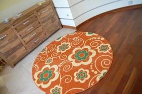 3kraft Detský guľatý koberec Flowa oranžový