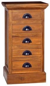 vidaXL Skrinka s 5 zásuvkami 35x30x60 cm masívne teakové drevo