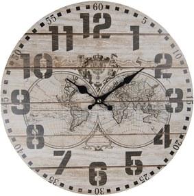 Nástenné hodiny The World s patinou - Ø 34 * 1 cm / 1 * AA