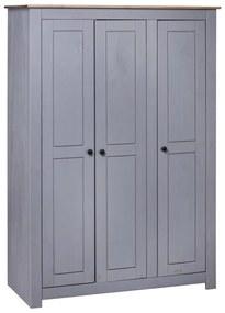 vidaXL 3-dverový šatník sivý 118x50x171,5 cm borovicové drevo Panama Range
