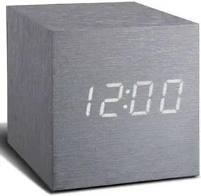 """Budík """"Cube Click"""", hliník / biela - Gingko"""