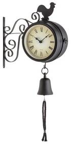 Early Bird, nástenné hodiny, záhradné hodiny, teplomer, 28 x 34 x 10 cm, zvon, retro