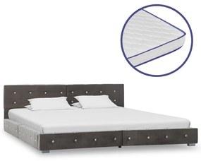 vidaXL Posteľ s matracom z pamäťovej peny sivá 180x200 cm zamatová