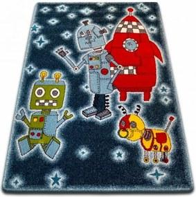 MAXMAX Detský koberec KIDS Roboti - čierny