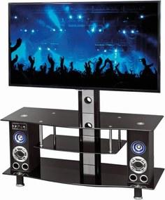 HALMAR RTV-22 sklenený tv stolík čierna