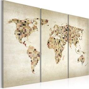 Obraz na plátne Bimago - Beige shades of the World - triptych 120x80 cm
