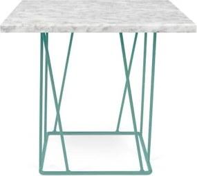 Biely mramorový konferenčný stolík so zelenými nohami TemaHome Helix, 50cm