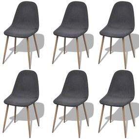 272244 vidaXL Tmavo šedé látkové kuchyské stoličky bez opierok, železné nohy 6 ks
