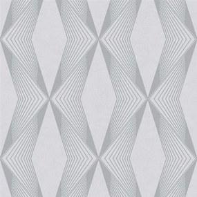 Vliesové tapety na stenu LIVIO 402122, geometrický vzor sivý na sivom podklade, rozmer 10,05 m x 0,53 m, IMPOL TRADE