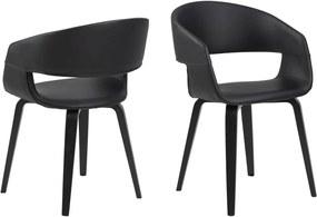 Dizajnová stolička Nere, čierna-topoľ