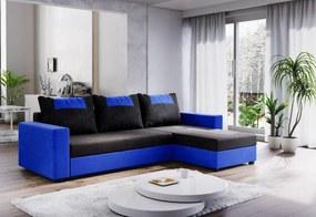Expedo Rohová rozkládací sedačka COOPER, 232x144, černá/modrá, mikrofáze04/U036