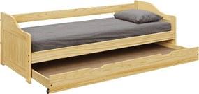 KONDELA Laura New drevená jednolôžková posteľ s prístelkou prírodná