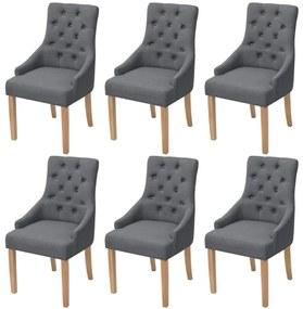 Dubové jedálenské stoličky, 6 ks, látkový poťah, tmavošedé (3x243636)