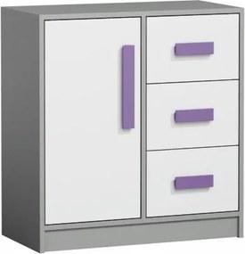 Kombinovaná komoda, biela/sivá/fialová, PIERE P07